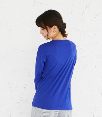 バックスタイル 授乳服 CARINO-DT ロングスリーブ ロイヤルブルー Mサイズ 164cm