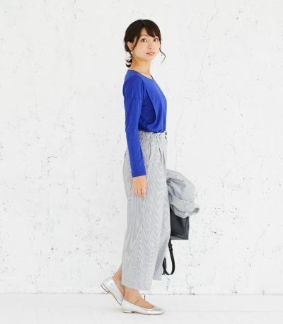 インでもすっきり 授乳服 CARINO-DTロングスリーブ ロイヤルブルー Mサイズ 164cm