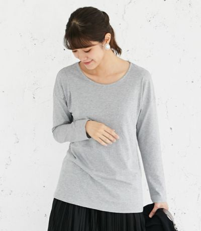 フロントスタイル 授乳服 CARINO-DTロングスリーブ 杢グレー Mサイズ 160cm