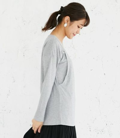 サイドスタイル 授乳服 CARINO-DTロングスリーブ 杢グレー Mサイズ 160cm