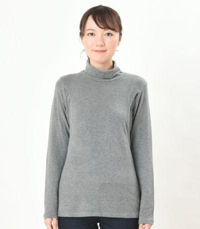 フロントスタイル 授乳服 デュアルウォームタートル 杢グレー Lサイズ 164cm