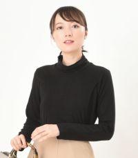 フロントスタイル 授乳服 デュアルウォームタートル ブラック Lサイズ 164cm