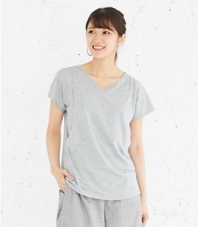 フロントスタイル 授乳服 CARINO-DT VネックT 杢グレー Mサイズ 164cm