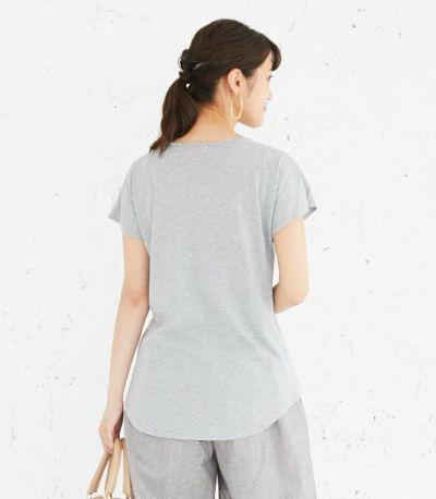 バックスタイル 授乳服 CARINO-DT VネックT 杢グレー Mサイズ 164cm