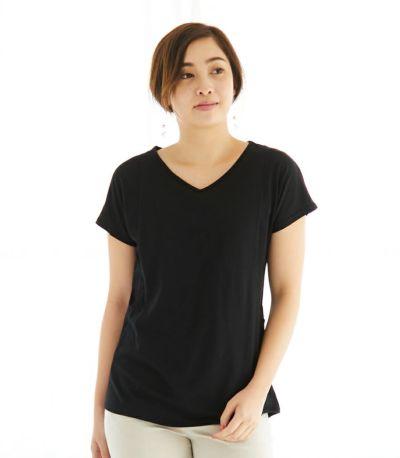 フロントスタイル 授乳服 CARINO-DT VネックT ブラック Mサイズ 160cm