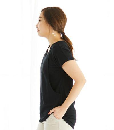 授乳服 CARINO-DT VネックT ブラック Mサイズ 160cm