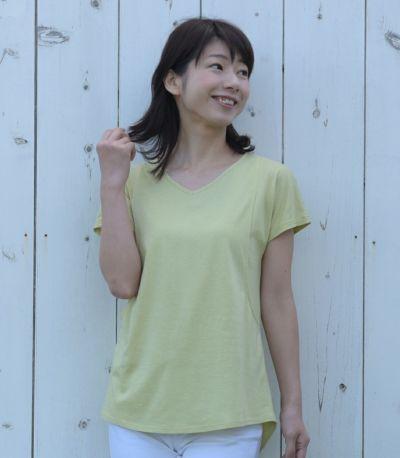 フロントスタイル 授乳服 CARINO-DT VネックT ライムグリーン Mサイズ 160cm