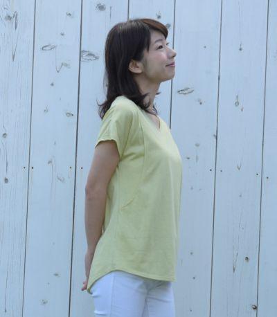 サイドスタイル 授乳服 CARINO-DT VネックT ライムグリーン Mサイズ 160cm