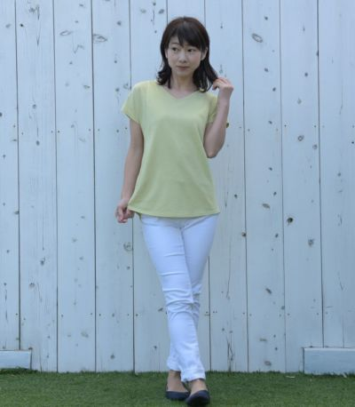 授乳服 CARINO-DT VネックT ライムグリーン Mサイズ 160cm