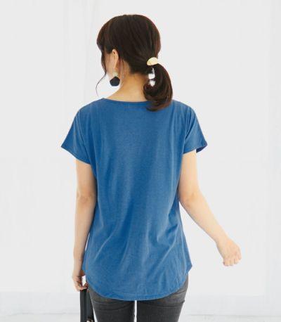 バックスタイル 授乳服 CARINO-DT VネックT スカイブルー Mサイズ 160cm