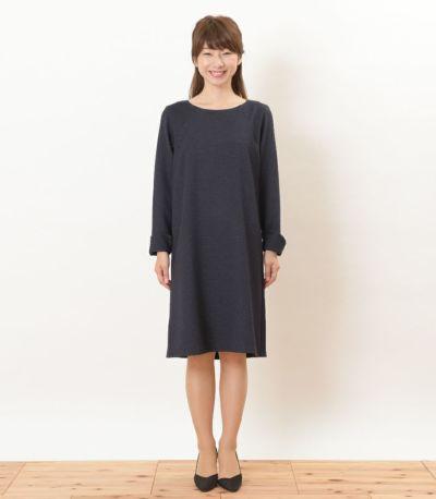 フロントスタイル 授乳服 ツイードワンピ ネイビー Mサイズ 160㎝