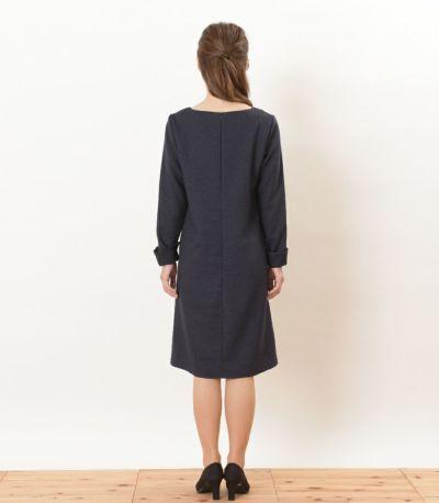 バックスタイル 授乳服 ツイードワンピ ネイビー Mサイズ 160㎝