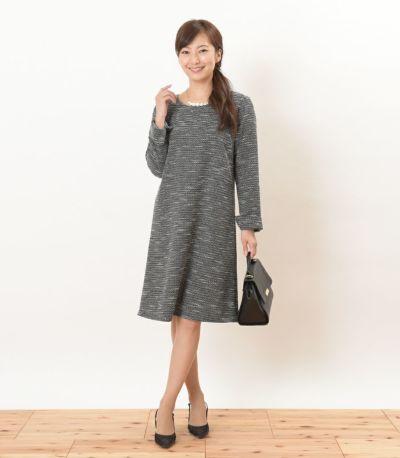 フロントスタイル 授乳服 ツイードワンピ ホワイト×ブラック Mサイズ 160㎝