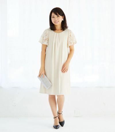 フロントスタイル 授乳服 ジョーゼットワンピ ベージュ 160cm