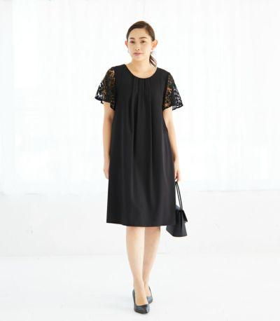 フロントスタイル 授乳服 ジョーゼットワンピ ブラック 164cm