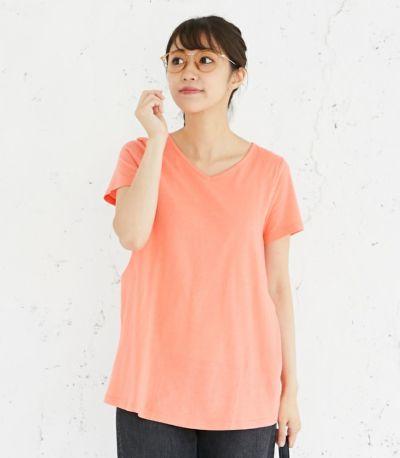 フロントスタイル 授乳服 CARINO-DT チュニックショートスリーブ  コーラル Mサイズ 160㎝