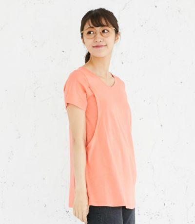 サイドスタイル 授乳服 CARINO-DT チュニックショートスリーブ  コーラル Mサイズ 160㎝