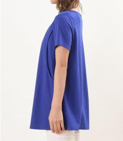 サイドスタイル 授乳服 CARINO-DT チュニックショートスリーブ  ロイヤルブルー Mサイズ 160㎝