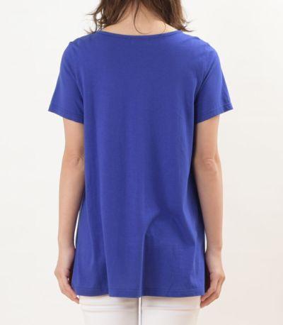 バックスタイル 授乳服 CARINO-DT チュニックショートスリーブ  ロイヤルブルー Mサイズ 160㎝