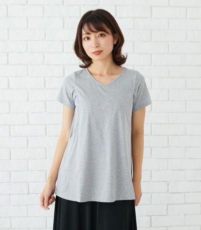 フロントスタイル 授乳服 CARINO-DT チュニックショートスリーブ  グレー 164㎝