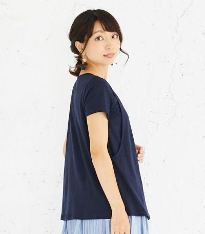 サイドスタイル 授乳服 CARINO-DT チュニックショートスリーブ  ネイビー Mサイズ 164㎝