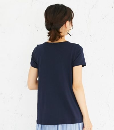 バックスタイル 授乳服 CARINO-DT チュニックショートスリーブ  ネイビー Mサイズ 164㎝
