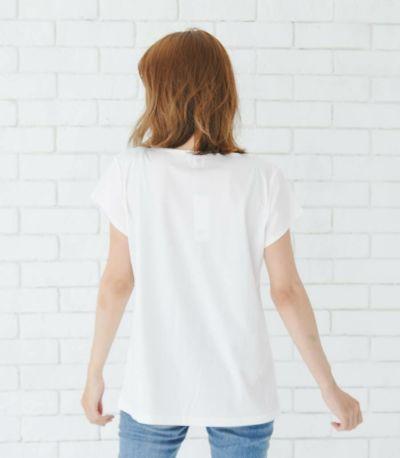 バックスタイル 授乳服 シルキーフレンチトップス オフホワイト Mサイズ 160㎝