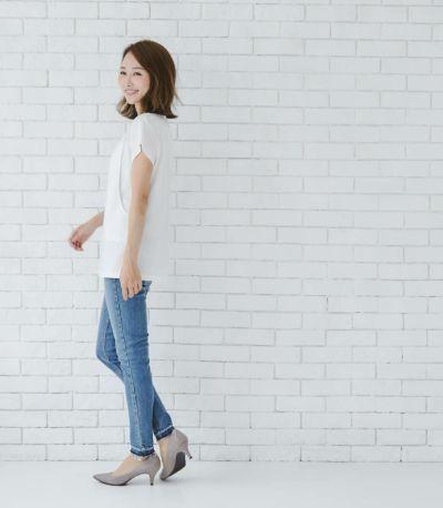 授乳服 シルキーフレンチトップス オフホワイト Mサイズ 160㎝