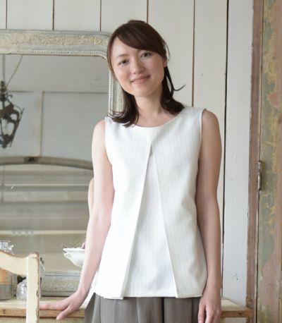 フロントスタイル 授乳服 アメリーストライプ ホワイト 164cm