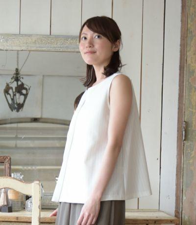 サイドスタイル 授乳服 アメリーストライプ ホワイト 164cm