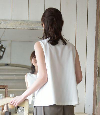 バックスタイル 授乳服 アメリーストライプ ホワイト 164cm