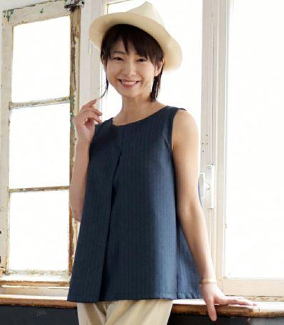 サイドスタイル 授乳服 アメリーストライプ ネイビー 160cm