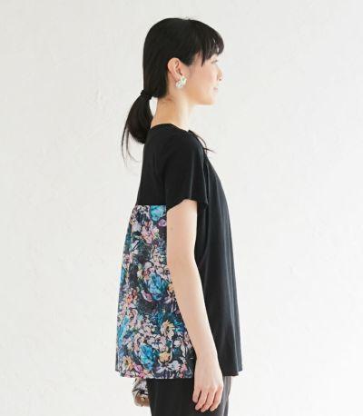 サイドスタイル 授乳服 フローラル ブラック(B)164cm