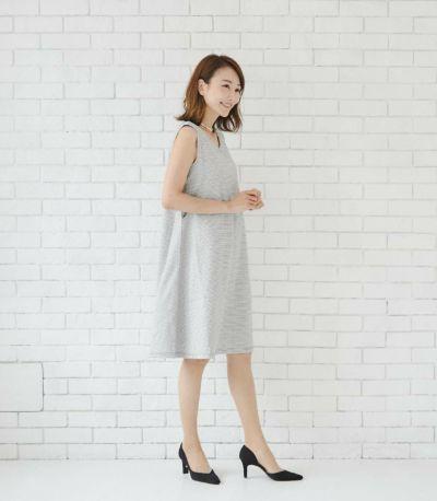 フロントスタイル 授乳服 エクラ ブラック×ホワイト 160cm