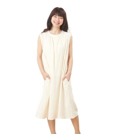 フロントスタイル 授乳服 ふんわりオーガニックワンピ ナチュラル 160cm