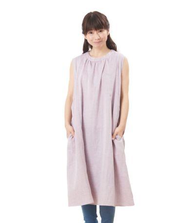 フロントスタイル 授乳服 ふんわりオーガニックワンピ ペールパープル 160cm