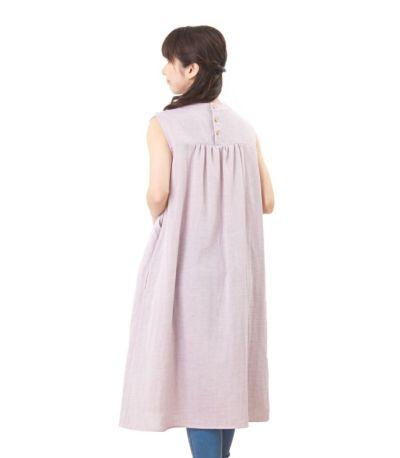 バックスタイル 授乳服 ふんわりオーガニックワンピ ペールパープル 160cm