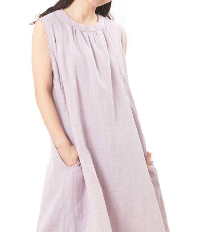 授乳服 ふんわりオーガニックワンピ ペールパープル 160cm