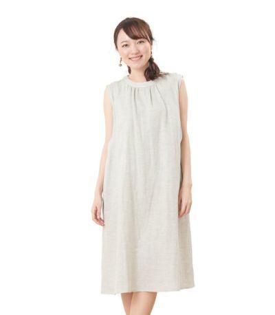 フロントスタイル 授乳服 ふんわりオーガニックワンピ サンドグレー  164cm