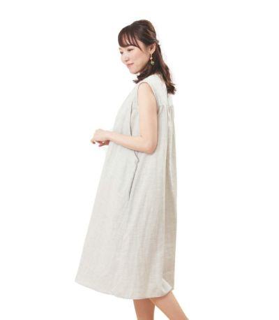 サイドスタイル 授乳服 ふんわりオーガニックワンピ サンドグレー  164cm