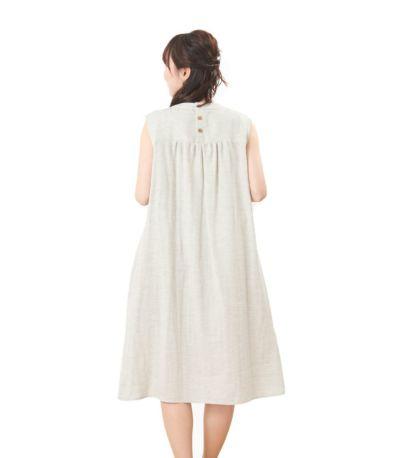 バックスタイル 授乳服 ふんわりオーガニックワンピ サンドグレー  164cm