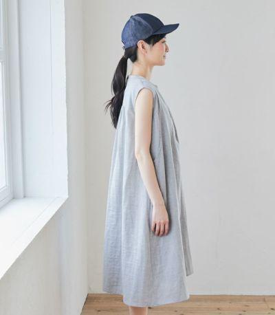 サイドスタイル 授乳服 ふんわりオーガニックワンピ インディゴ 163cm