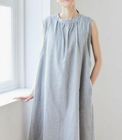 授乳服 ふんわりオーガニックワンピ インディゴ 163cm