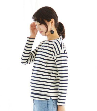サイドスタイル 授乳服 バスクシャツ ナチュラル×ネイビーボーダー 160cm