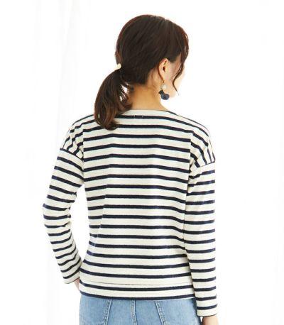 バックスタイル 授乳服 バスクシャツ ナチュラル×ネイビーボーダー 160cm