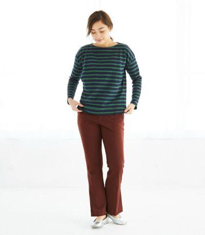 フロントスタイル 授乳服 バスクシャツ ネイビー×グリーンボーダー 164cm