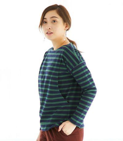 サイドスタイル 授乳服 バスクシャツ ネイビー×グリーンボーダー 164cm