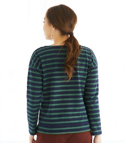 バックスタイル 授乳服 バスクシャツ ネイビー×グリーンボーダー 164cm