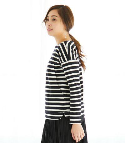 フロントスタイル 授乳服 バスクシャツ ブラック×ナチュラルボーダー 164cm
