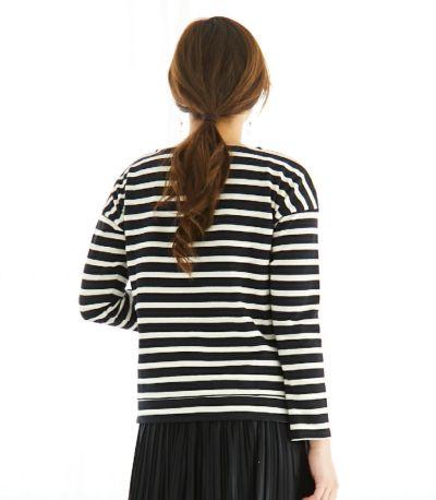 サイドスタイル 授乳服 バスクシャツ ブラック×ナチュラルボーダー 164cm
